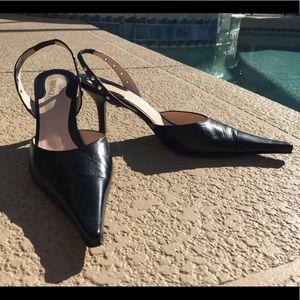 6af236310 Vintage Gianni Versace Black slingback kitten heel